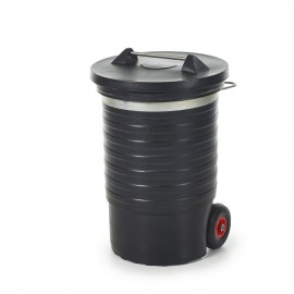 Poultry waste barrel with lid